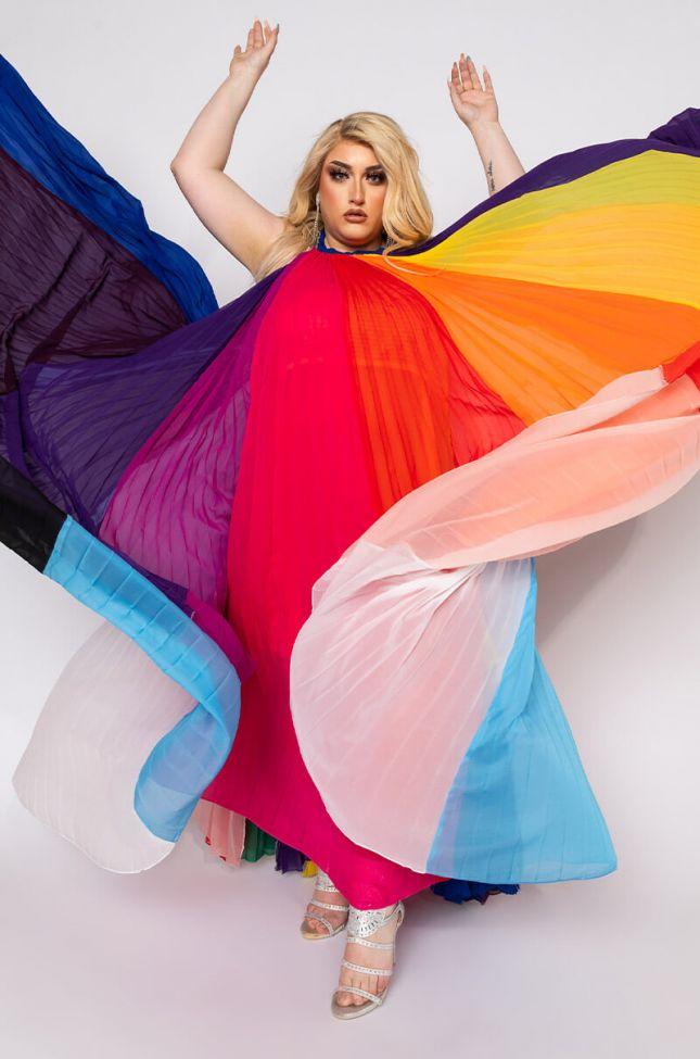 Plus I Am Me Wes Rainbow Chiffon Pleated Maxi in White Multi