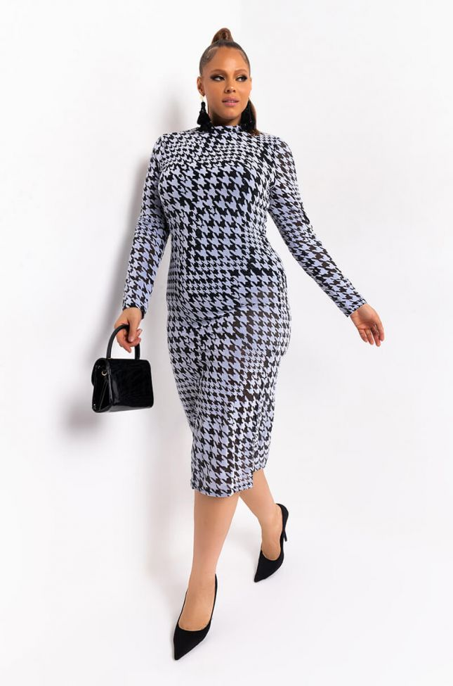 Front View Plus In The Mood For Couture Glitter Mesh Midi Dress in Black Multi