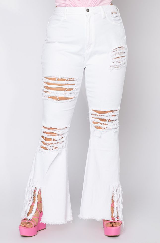 Front View Plus It Is Up To Me Fringe Flare Jeans in White