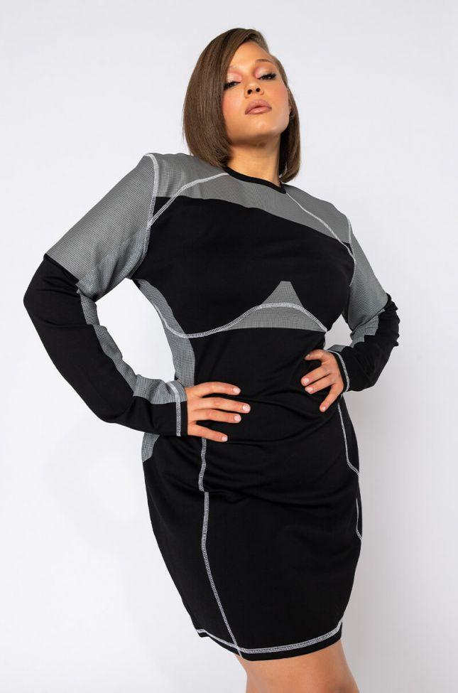 Front View Plus Jenni Contrast Seam Mini Dress in Black Multi