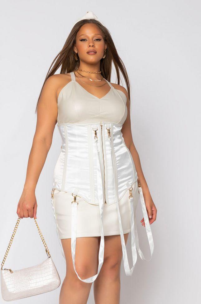 Front View Plus Keep The Basics Away Fashion Corset in White
