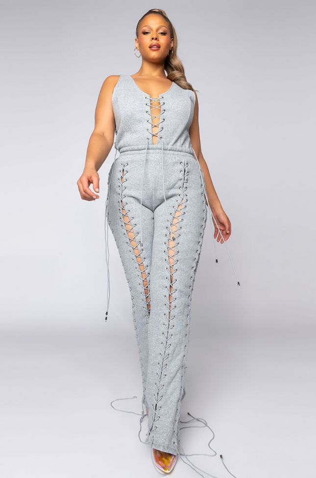 Side View Plus Lace It Up Jumpsuit With Multi Laces in Heather Grey
