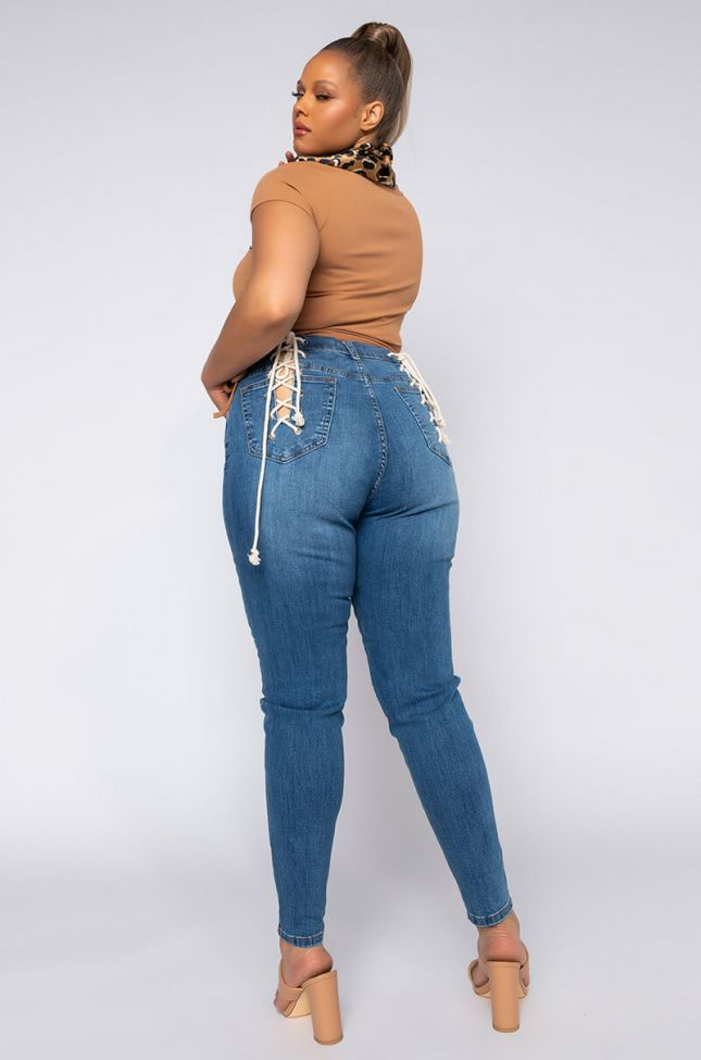 Plus Lace Me Up Skinny Jeans in Medium Blue Denim