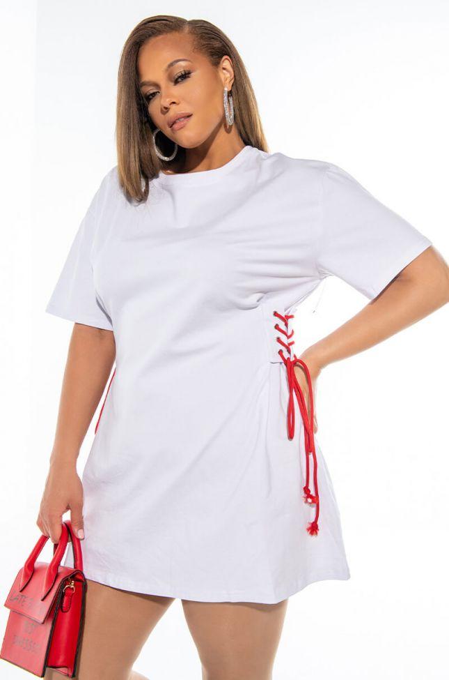 Front View Plus Lace Me Up T Shirt Dress