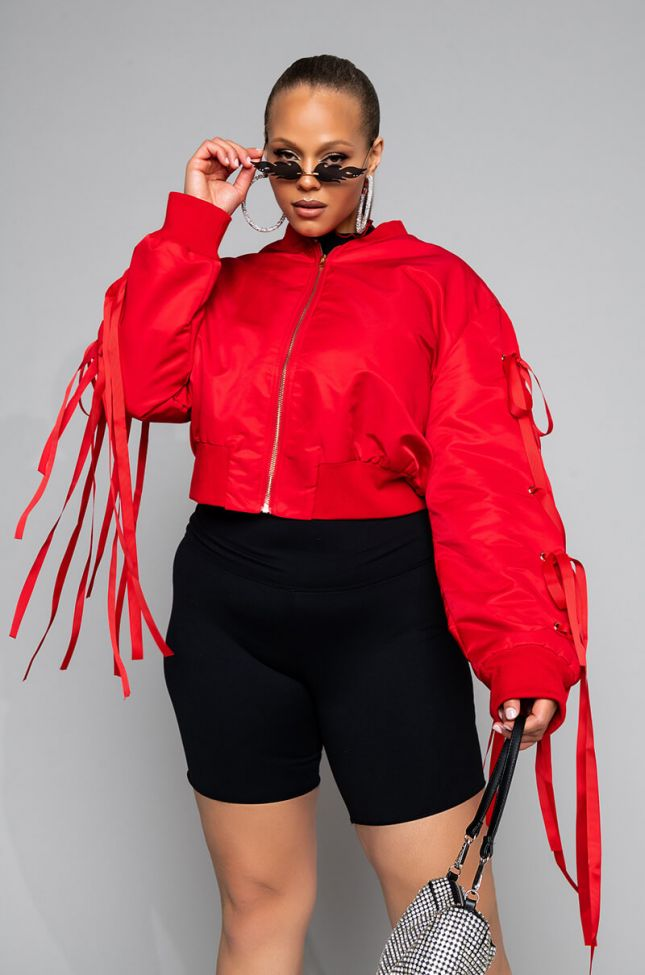 Side View Plus Lace Up Bow Bomber in Red