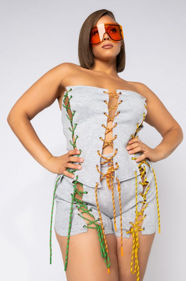 Front View Plus Lacey Baby Laced Up Bustier Corset in Grey Multi