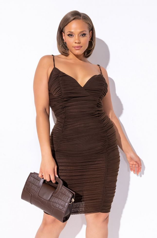 Front View Plus Like A Doll Ruched Midi Dress in Brown
