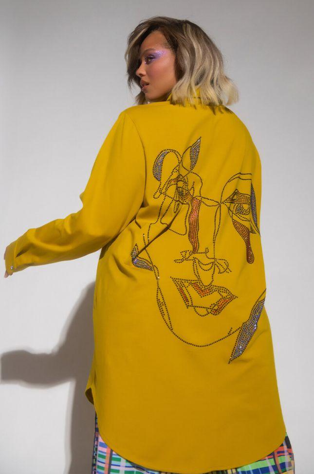 Back View Plus Line Art Rhinestone Shirt Dress in Yellow