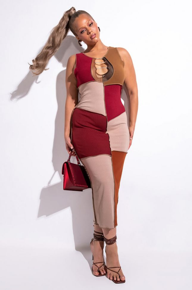 Front View Plus Line It Up Patchwork Ribbed Maxi Dress