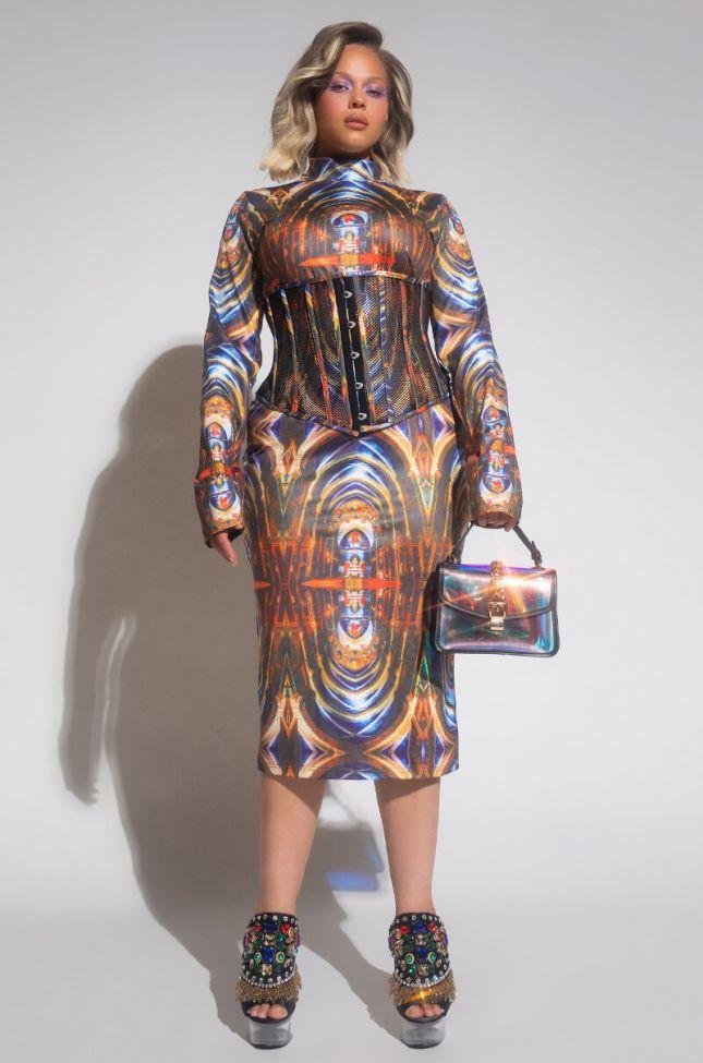Plus Live Forever Mock Neck Bodycon Midi Dress in Brown Multi