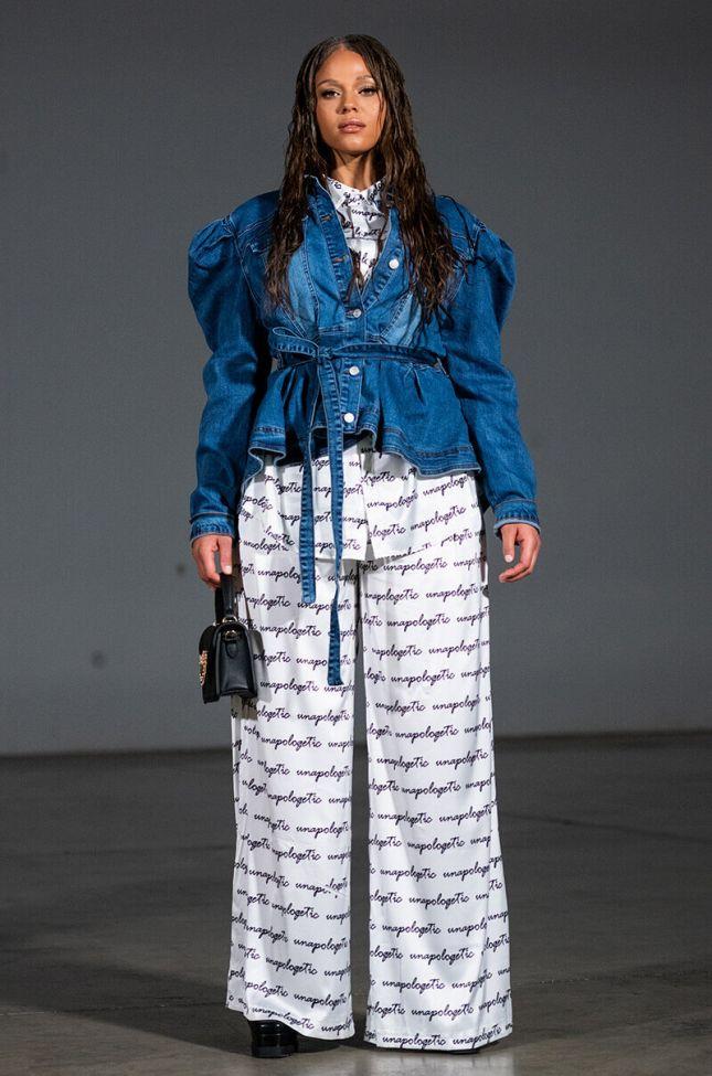 Plus Louisa Hi Low Denim Poplin Jacket in Medium Blue Denim