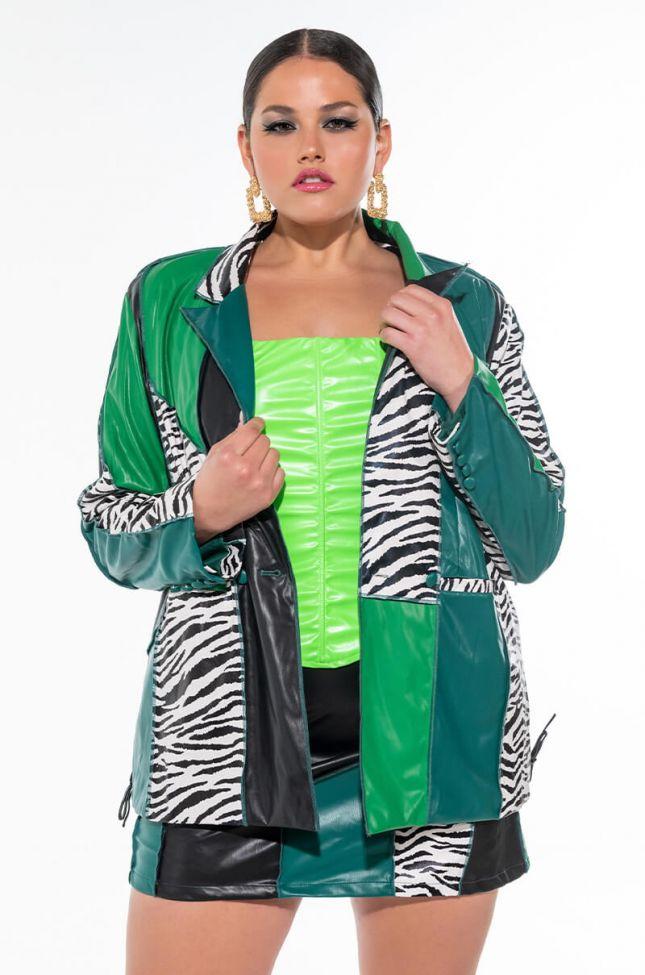 Side View Plus Manchester Colorblock Zebra Blazer