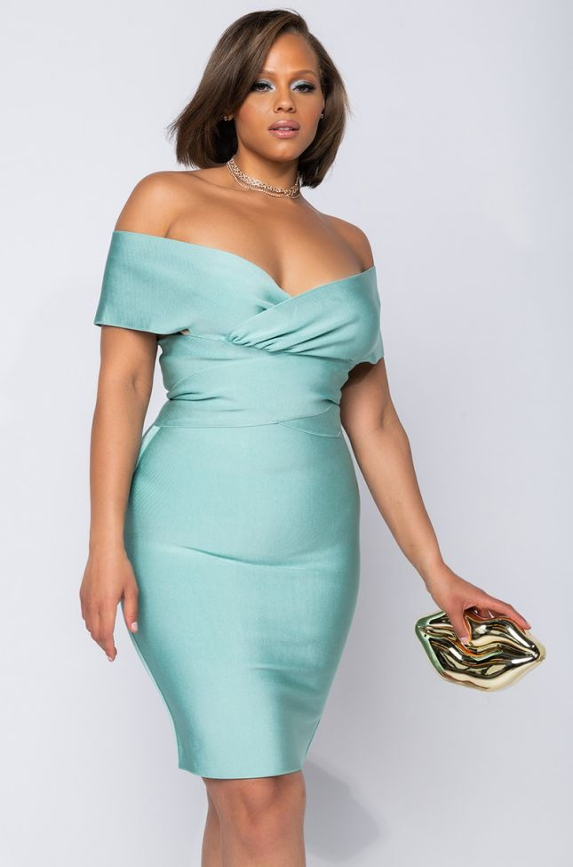 Front View Plus Matcha Moment Bandage Off The Shoulder Dress in Light Green