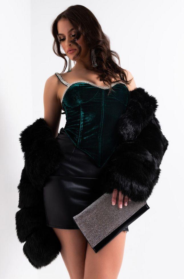Side View Plus Moulin Rouge Rhinestone Trim Corset in Dark Green