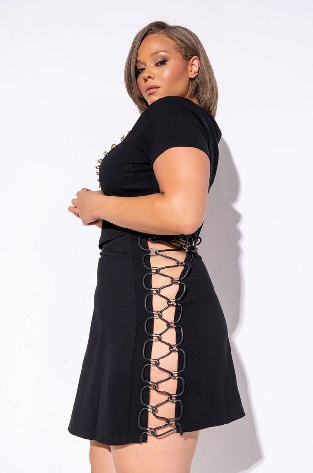 Full View Plus Move Made Cutout Mini Skirt in Black