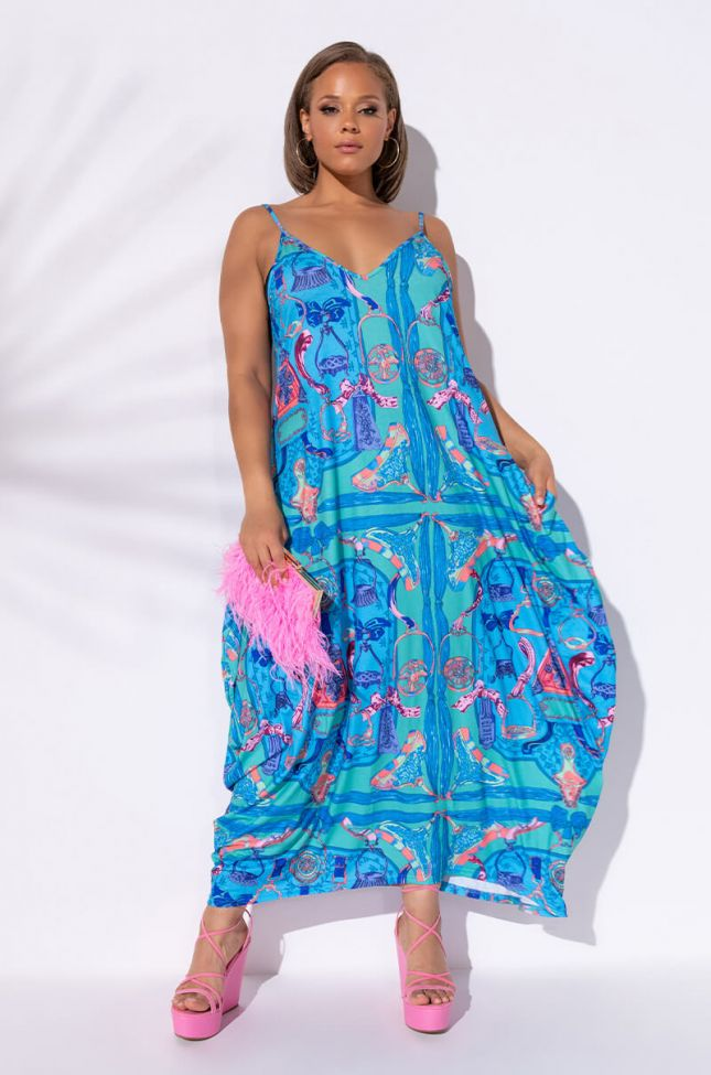Front View Plus No Questions Asked Maxi Dress in Blue Multi