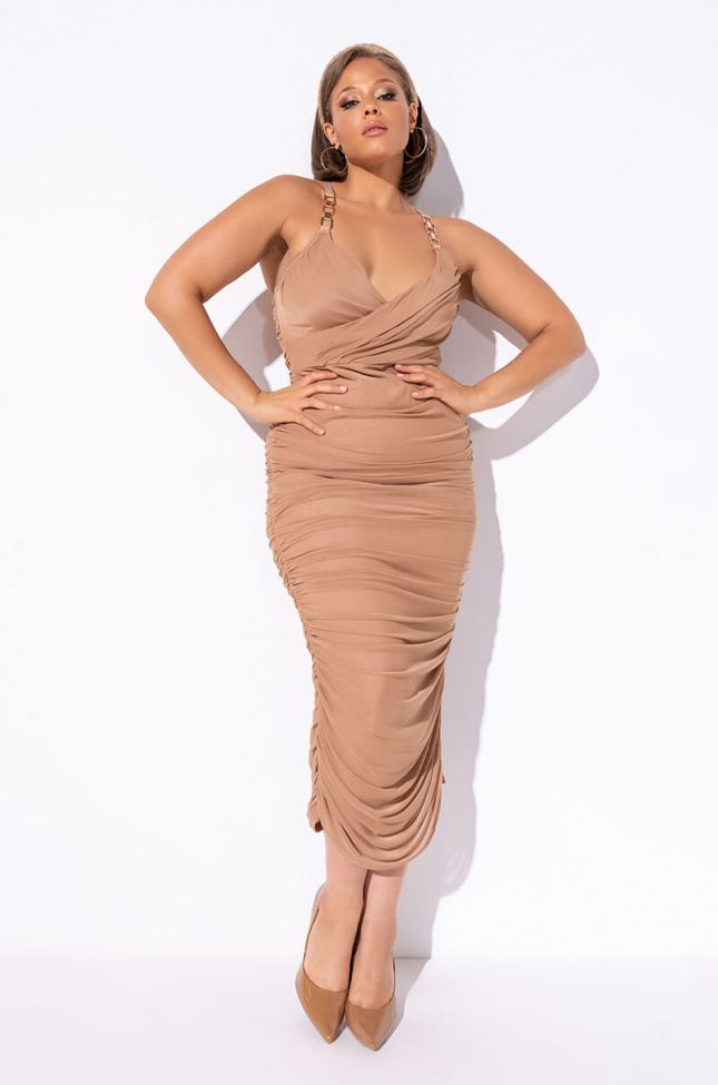 Front View Plus Nothing But The Best Midi Dress in Dark Brown