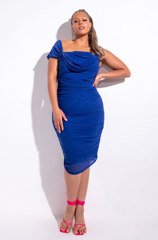 Front View Plus Nothing To Prove Off The Shoulder Midi Mesh Dress