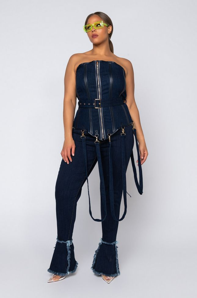 Full View Plus Nouveau High Waisted Flare Jeans in Dark Blue Denim