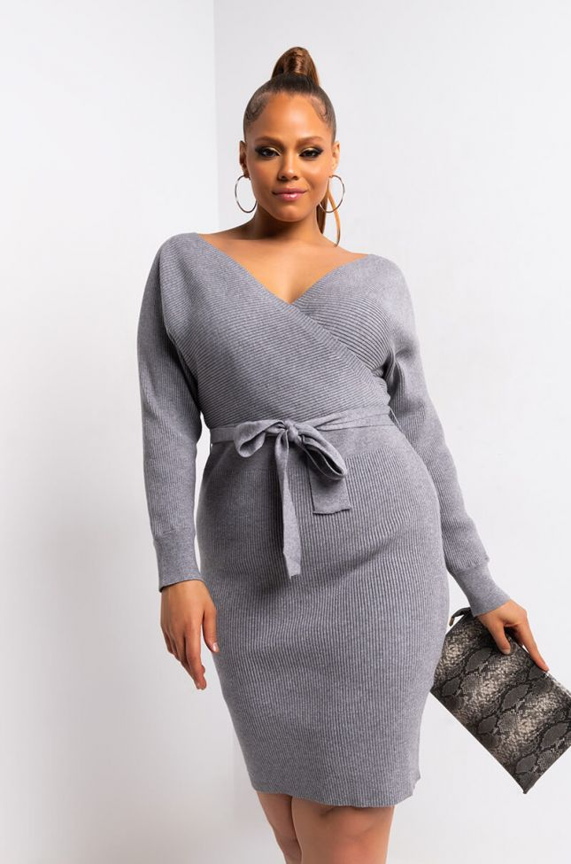 Front View Plus On My Own Time Long Sleeve Wrap Front Mini Dress in Heather Grey