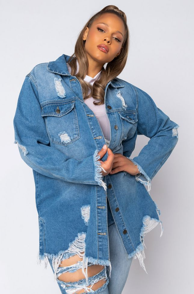 Front View Plus On The Fringe Of It All Oversized Denim Jacket in Blue