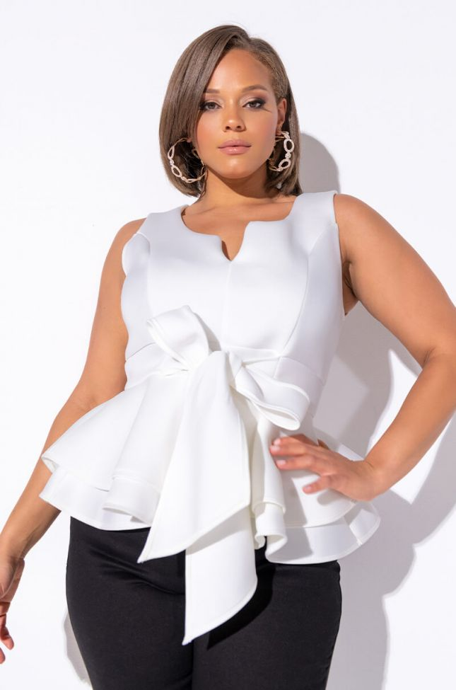 Front View Plus One More Time Sleeveless Blouse With Bow in White