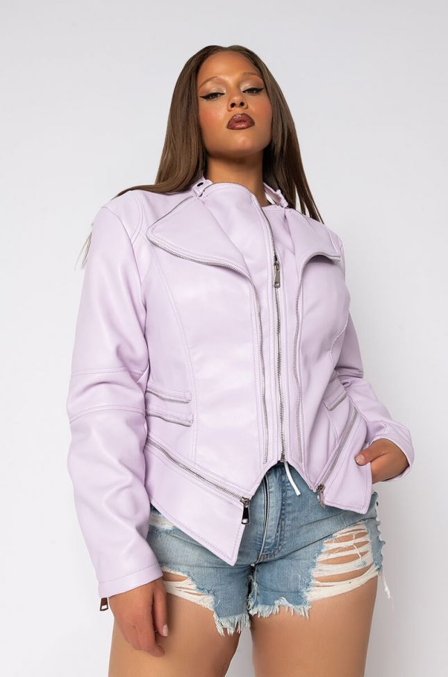 Front View Plus Pastel Perfect Pleather Moto Jacket in Light Purple