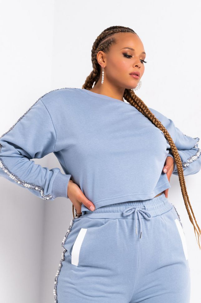 Front View Plus Perla Pearl Detail Sweatshirt in Blue