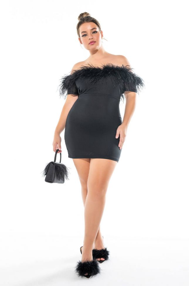 Extra View Plus Permanent Cold Shoulder Mesh Dress With Feather Detail
