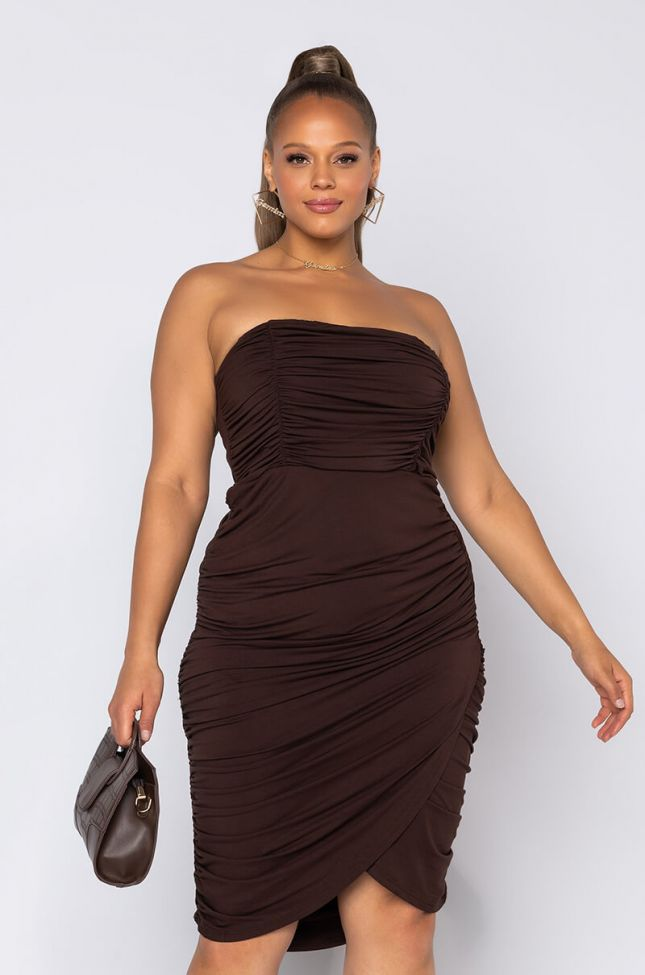 Front View Plus Pipe It Up Ruched Mini Dress in Brown