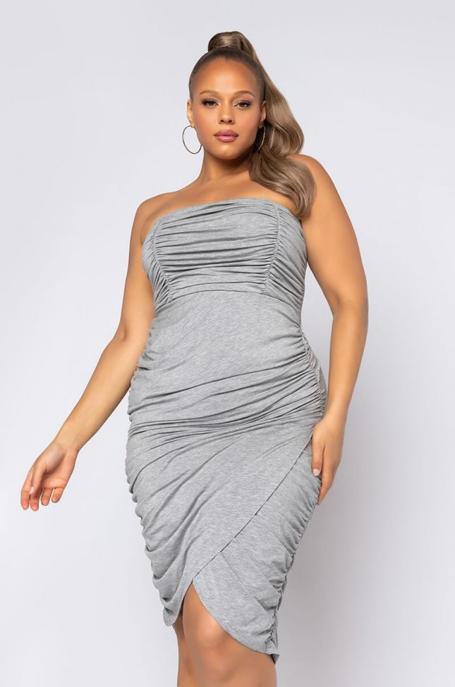 Front View Plus Pipe It Up Ruched Mini Dress in Heather Grey
