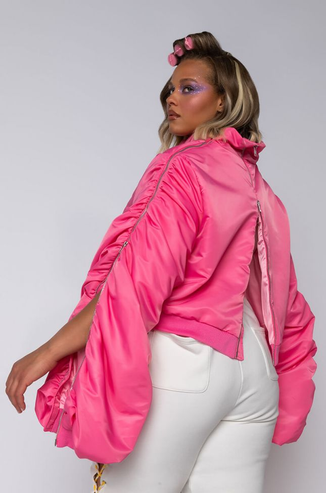 Full View Plus Powerpuff Stacked Arm Bomber in Pink