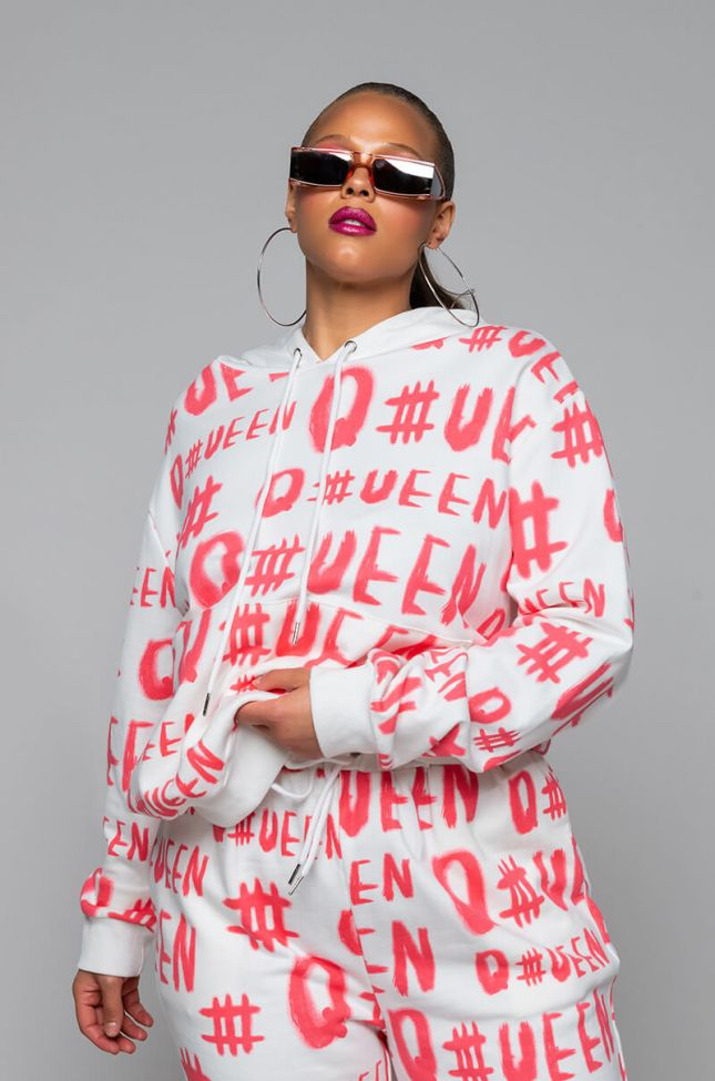 Front View Plus Queen Long Sleeve Front Zip Hoodie in White Multi