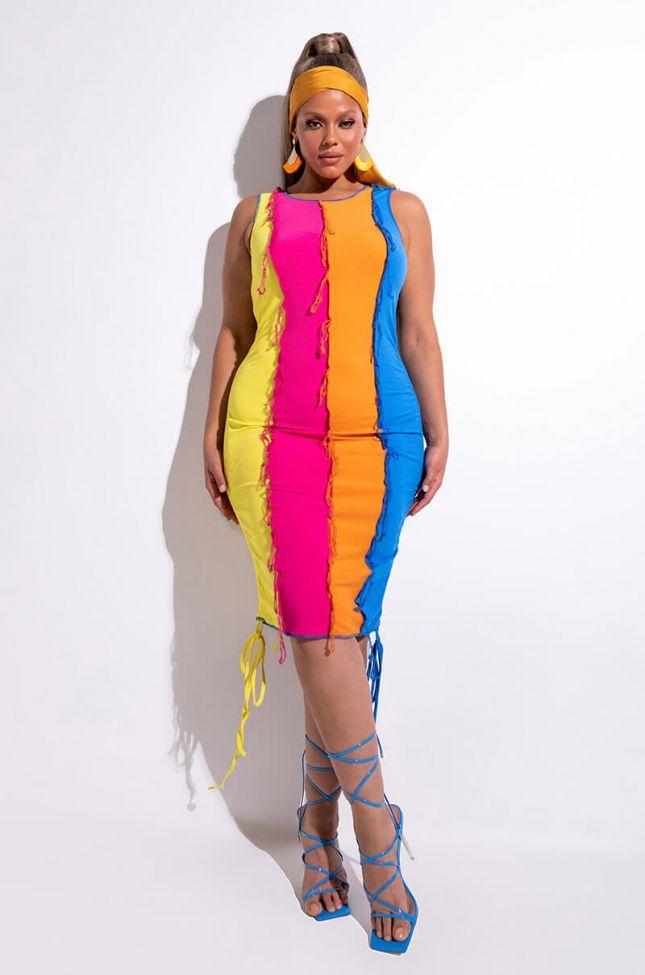 Side View Plus Queen Of Summer Colorblock Fringe Mini Dress