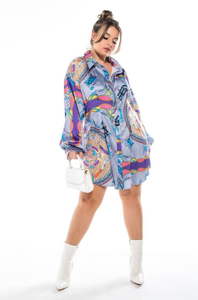 PLUS RAIN ON ME MINI BUTTON UP DRESS