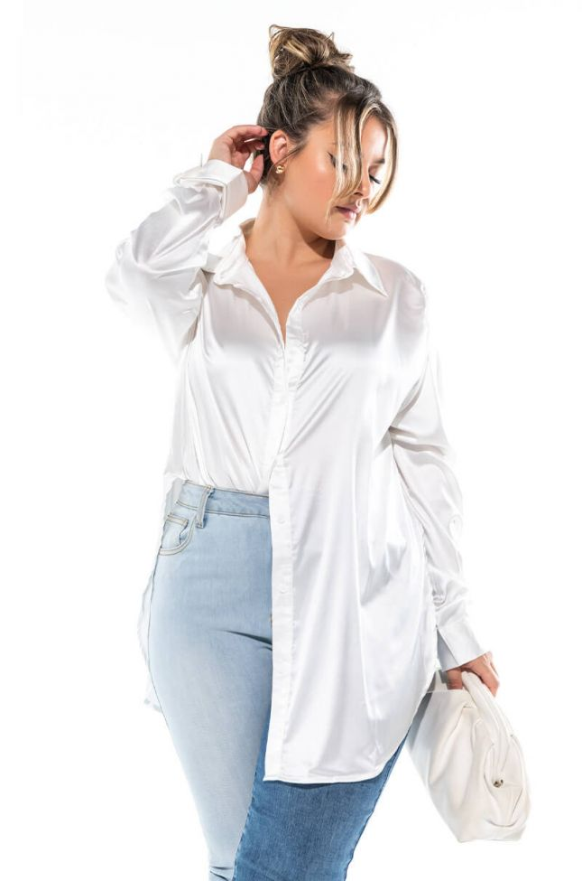 Front View Plus Ready For Any Occasion Satin Shirt