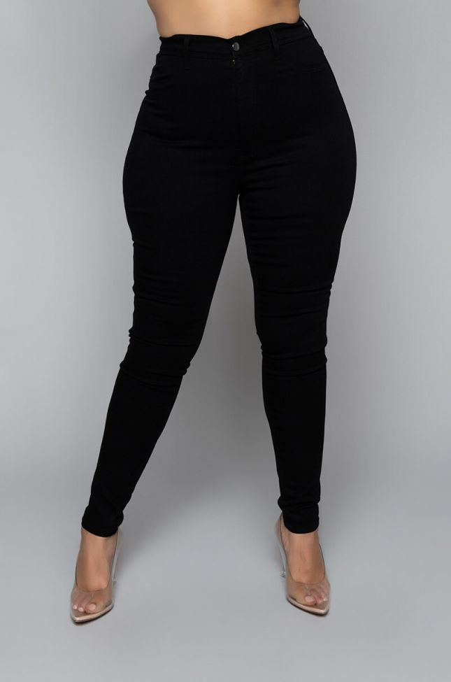 Front View Plus Rebeca Ultra High Rise Skinny Jeans in Black
