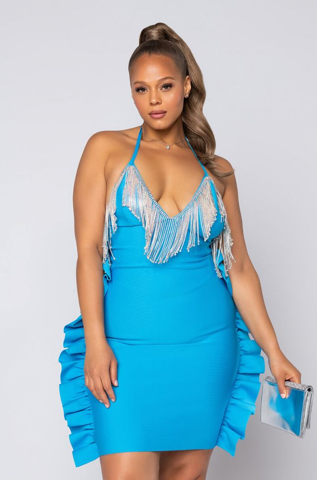 Front View Plus Riches On Riches Rhinestone Detail Midi Dress in Blue