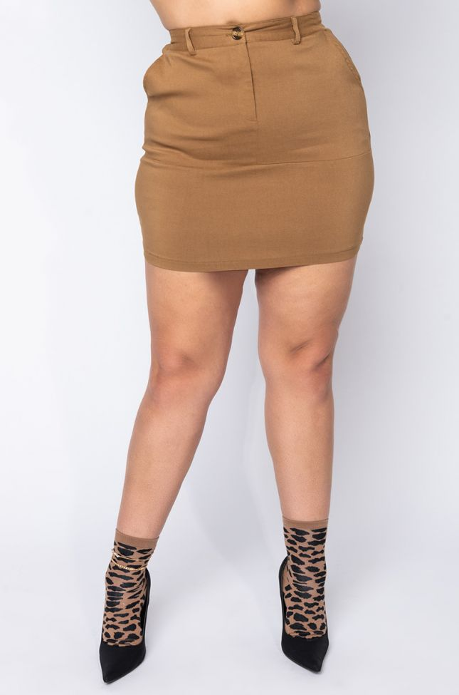 Front View Plus Ride With Me Utility Mini Skirt in Brown