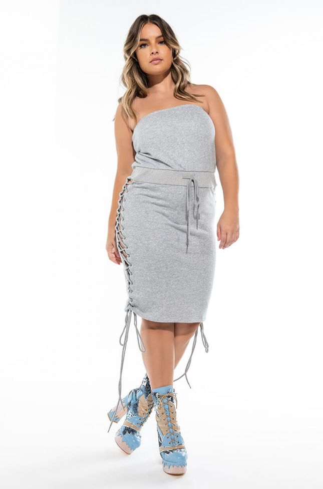 Extra View Plus Right Places Lace Up Tube Dress