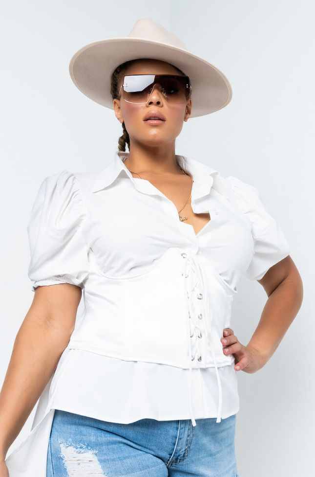 Front View Plus Roll With Us Lace Up Corset in White