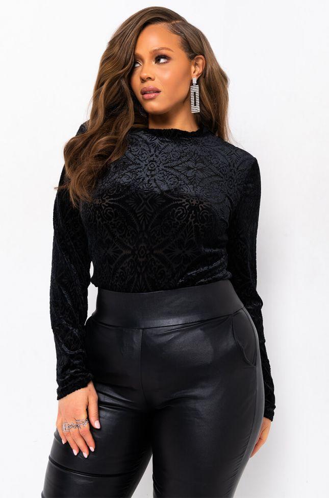 Front View Plus Royalty Velvet Long Sleeve Bodysuit in Black