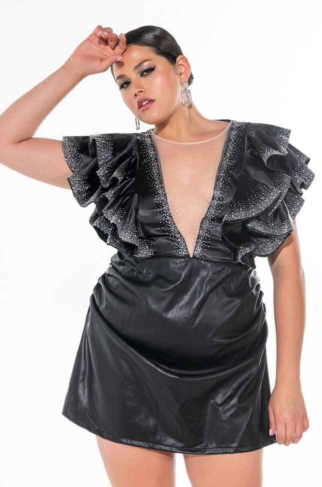 Front View Plus Ruffle Sleeve Glitter Detail Dress With Faux Leather Skirt