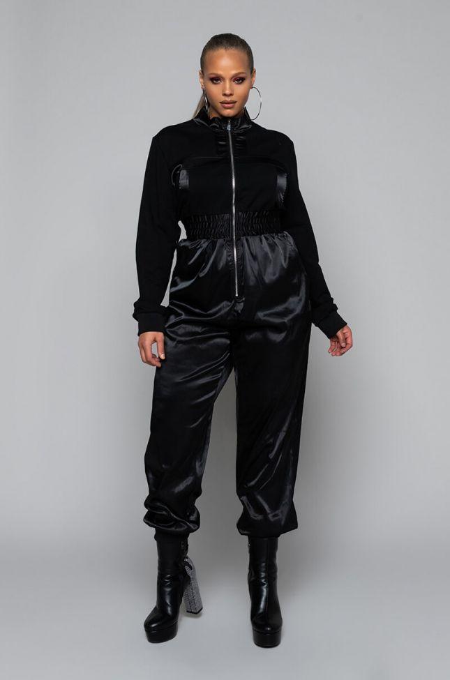 Back View Plus Satin Zip Front Jumpsuit in Black