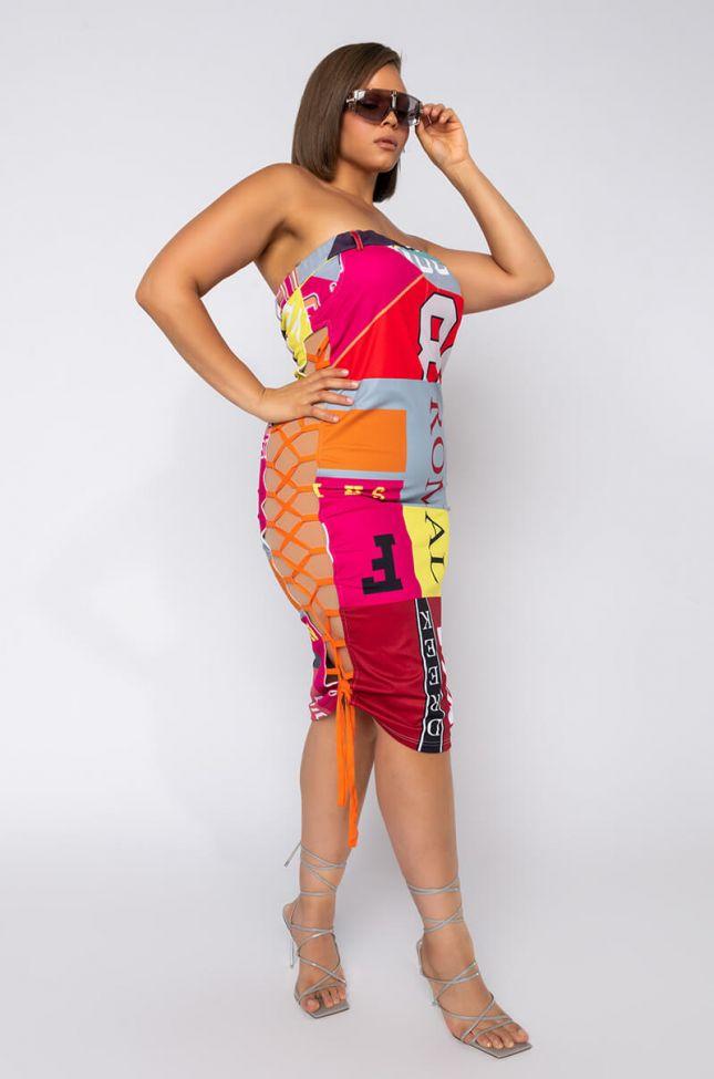 Plus Shake And Bake Lace Up Tube Midi Dress in Orange Multi