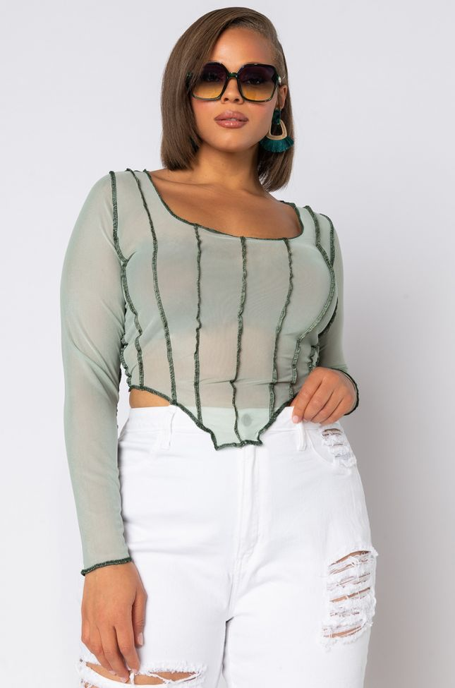 Front View Plus Sheer Detail Mesh Long Sleeve Top in Mint