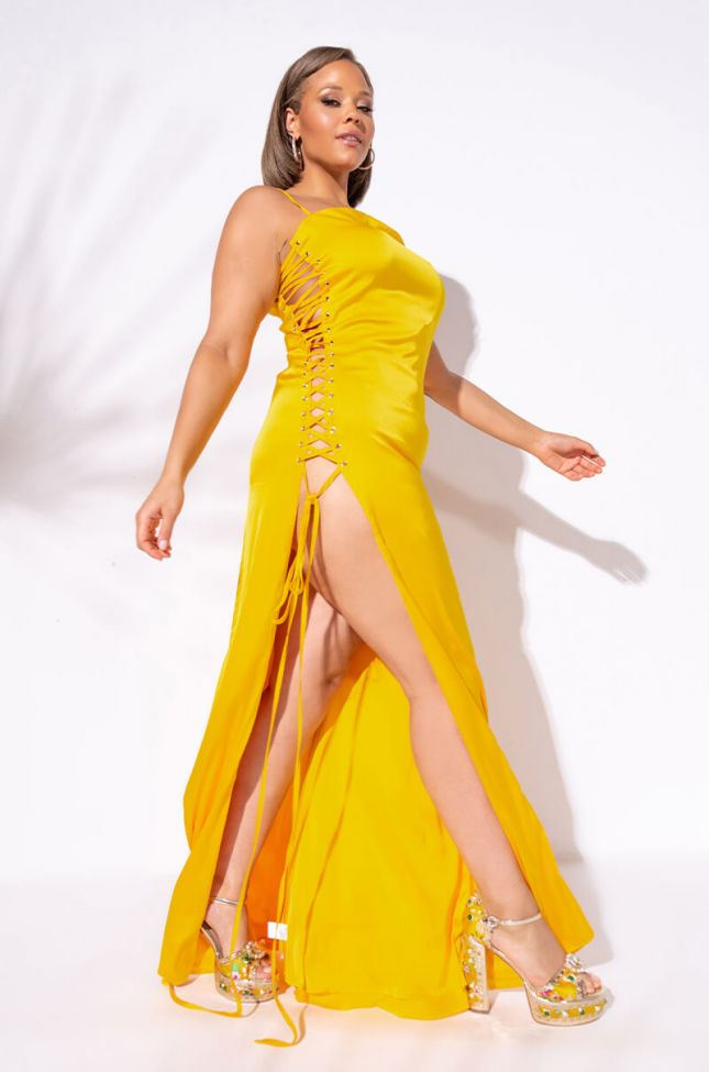 Front View Plus Show A Little Leg Satin Lace Up Maxi Dress in Yellow
