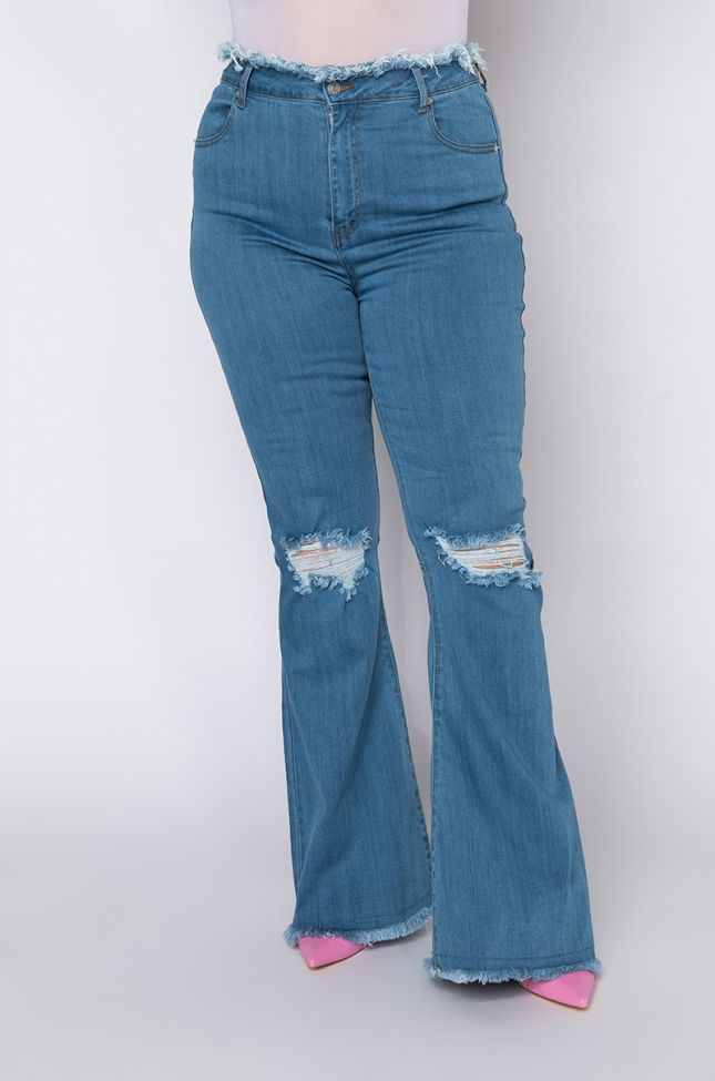 Front View Plus Size All I Wanna Do High Rise Flare Jeans in Medium Blue Denim