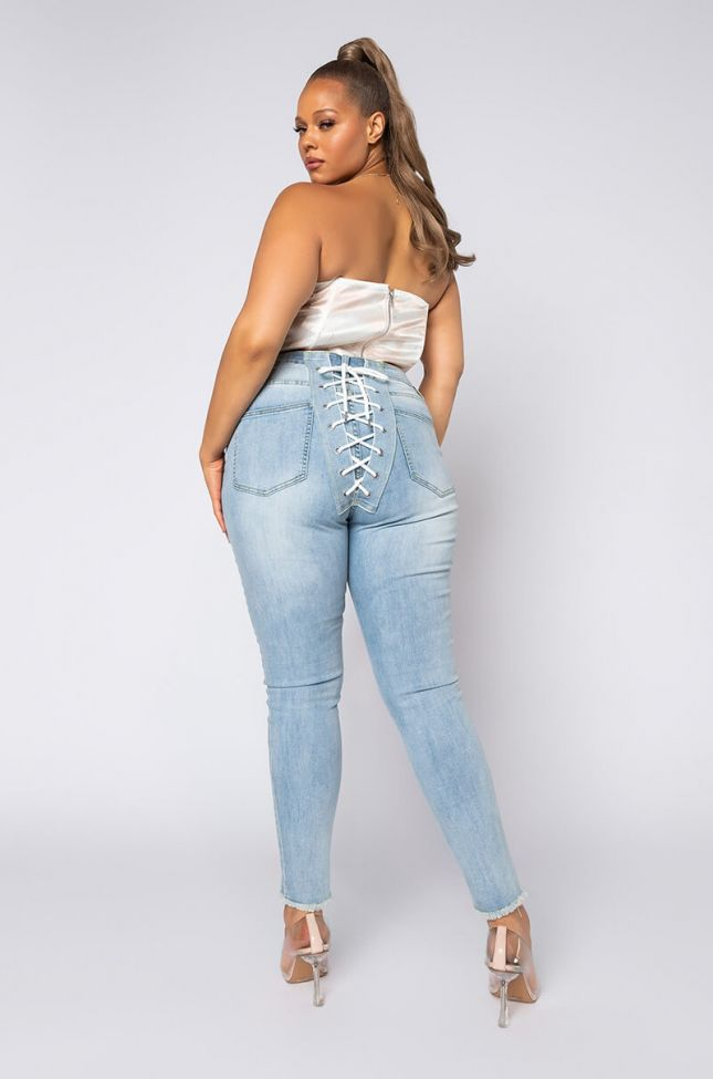 Plus Size All Over Back Lace Skinny Jeans in Light Blue Denim