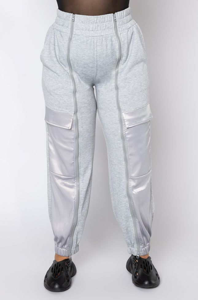 Front View Plus Size Call Me Later Zipper Jogger  in Grey